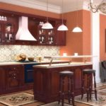 фото дизайна прямой деревянно кухни