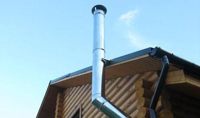 Дымоход AISI 316 установленный в деревянном строении